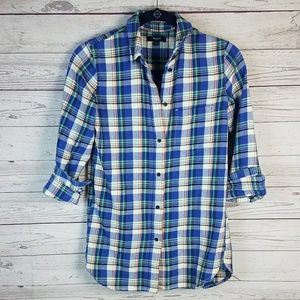 Madewell Tulsa Plaid Slim Boyfriend Button Up